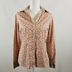 Lands' End Size 8 Shirt No Iron Rust Floral